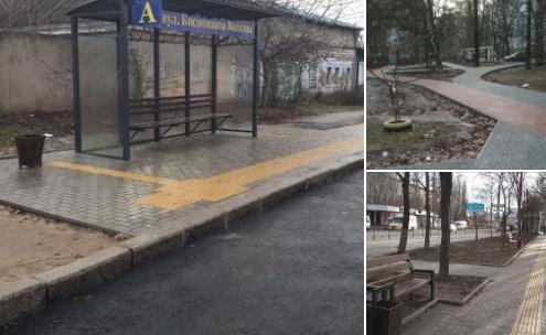 Адміністрація Корабельного району звітувала про ремонт тротуарів та встановлення нової зупинки