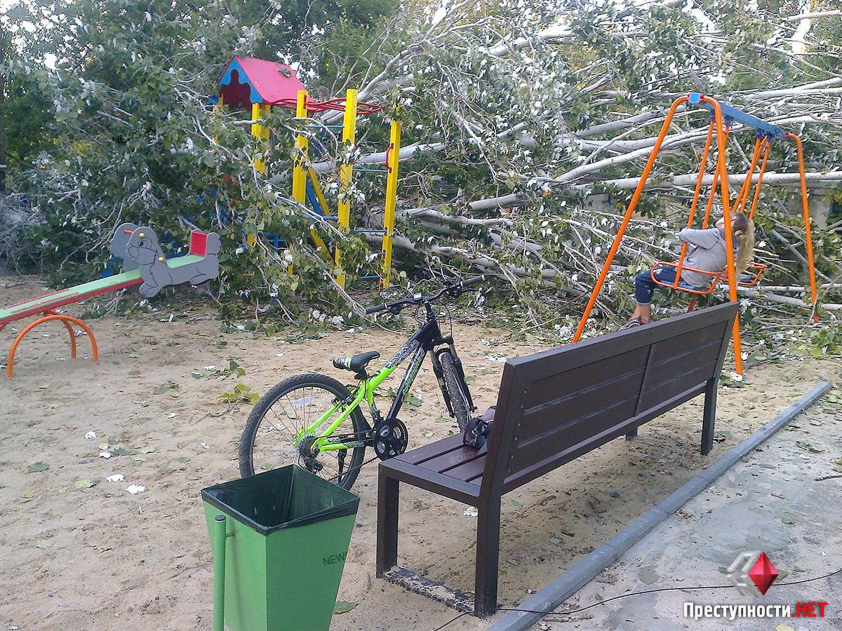 В Николаеве огромный тополь упал на детскую площадку