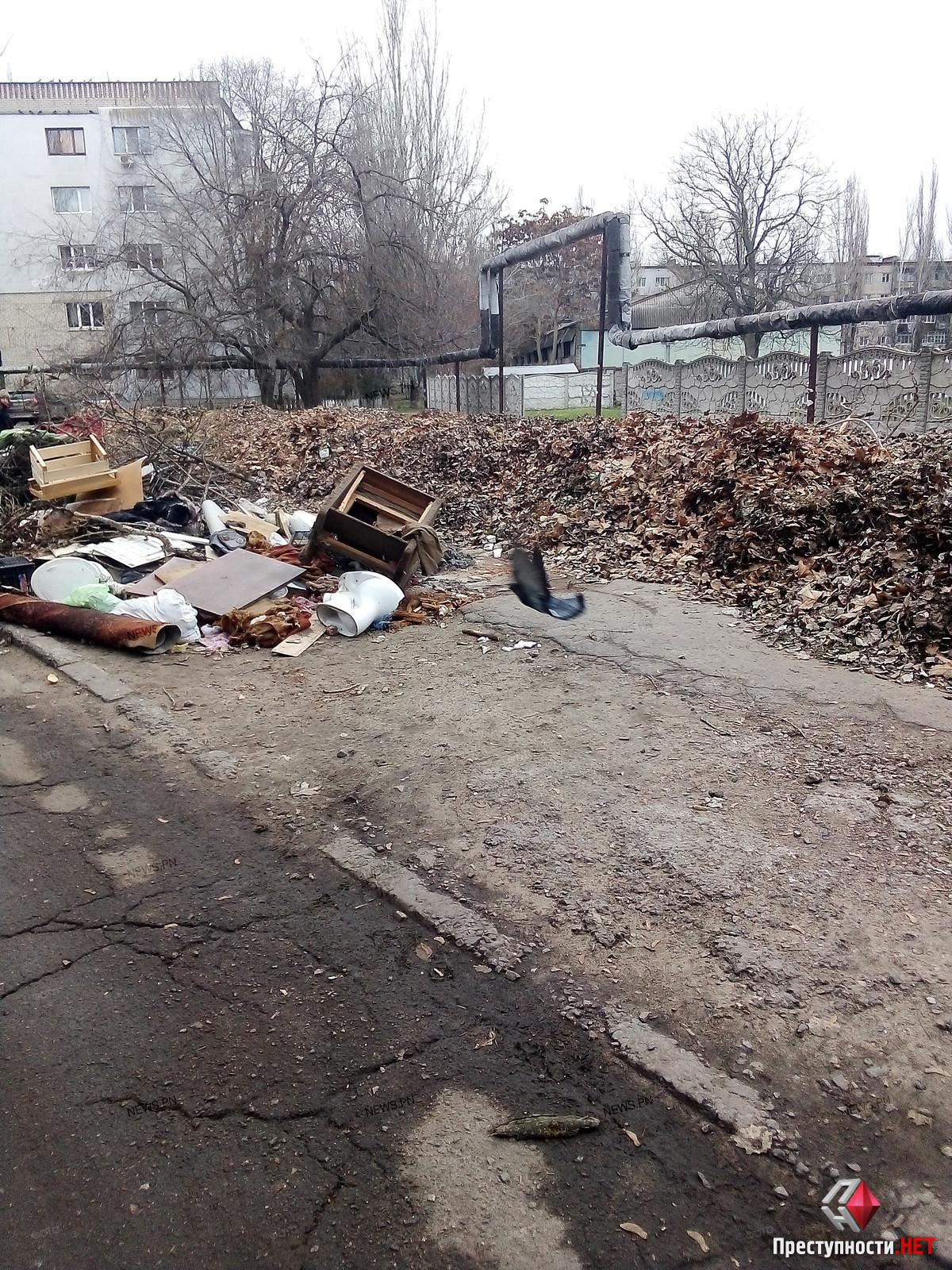 Николаевец пожаловался на свалку из листьев и мусора между домами в Лесках